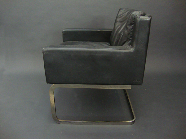Patina leather armchair