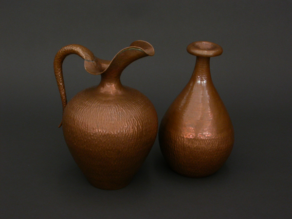 Pair of copper carafes