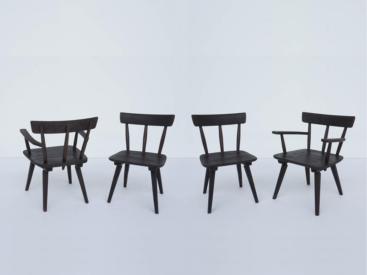 4 Louge-Sessel in Schwarz Lärche Massiv