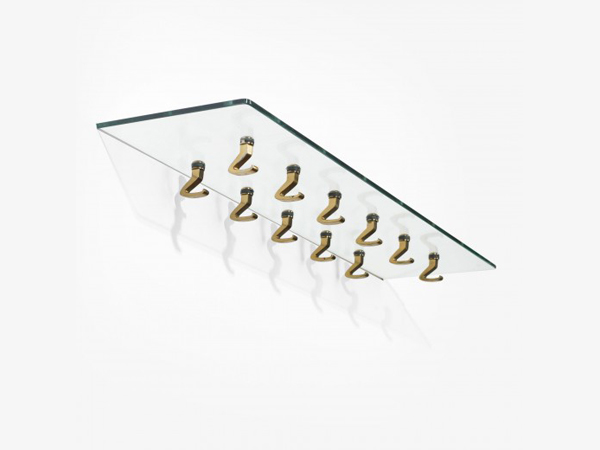 Suspended Glass Shelf With Brass Hangers mod. 5622