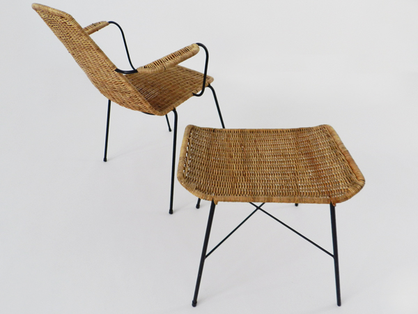 Armchair and stool mod. Basket