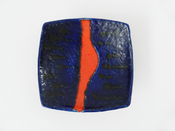 Blue and red ceramic bowl