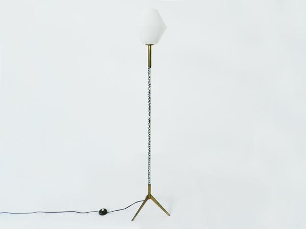 Enameled metal floor lamp