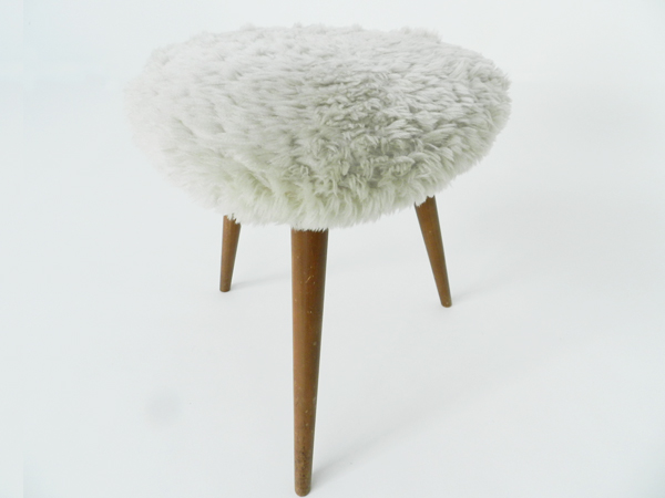 Swiss lamb's wool fur stool