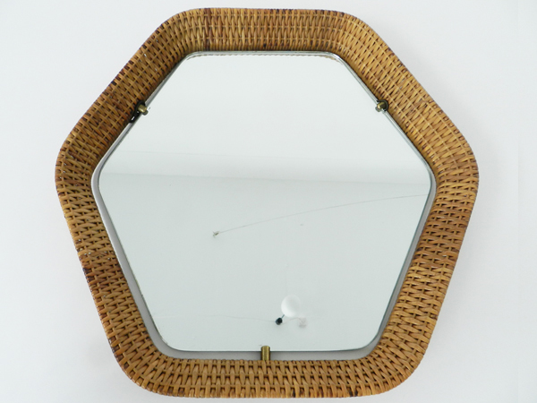 Hexagonal rattan mirror