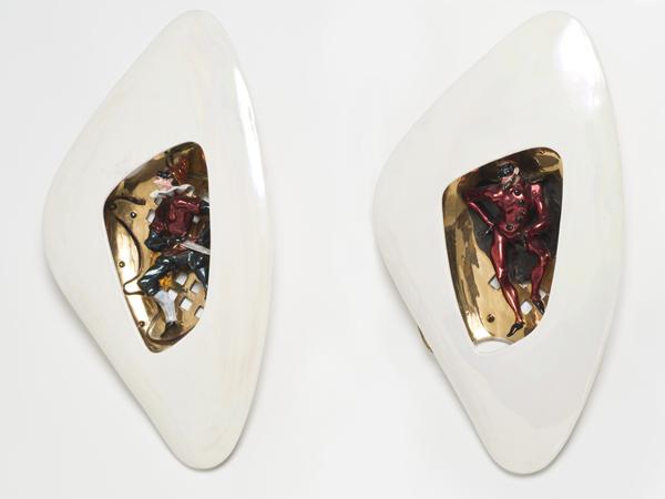 2 Venetian ceramic sconces