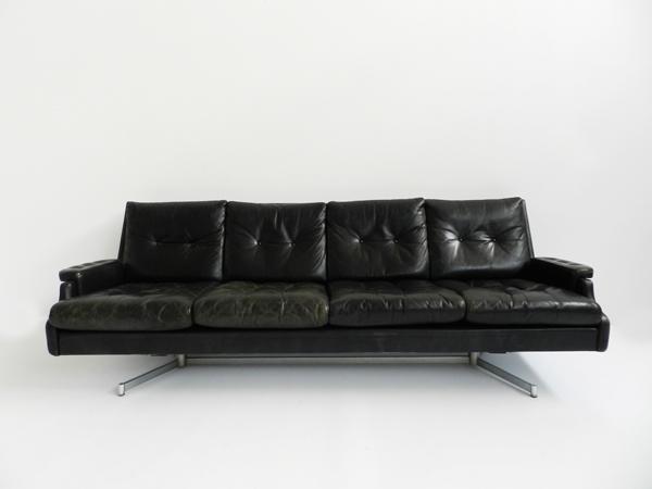 Patina black leather sofa