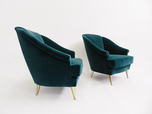 Rare elegant pair of armchairs