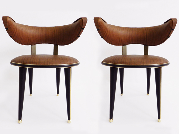 Pair of low decorative armchairs
