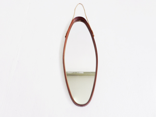 Wooden oval italian mirror