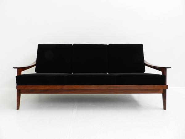 Black velvet sofa and armchairs