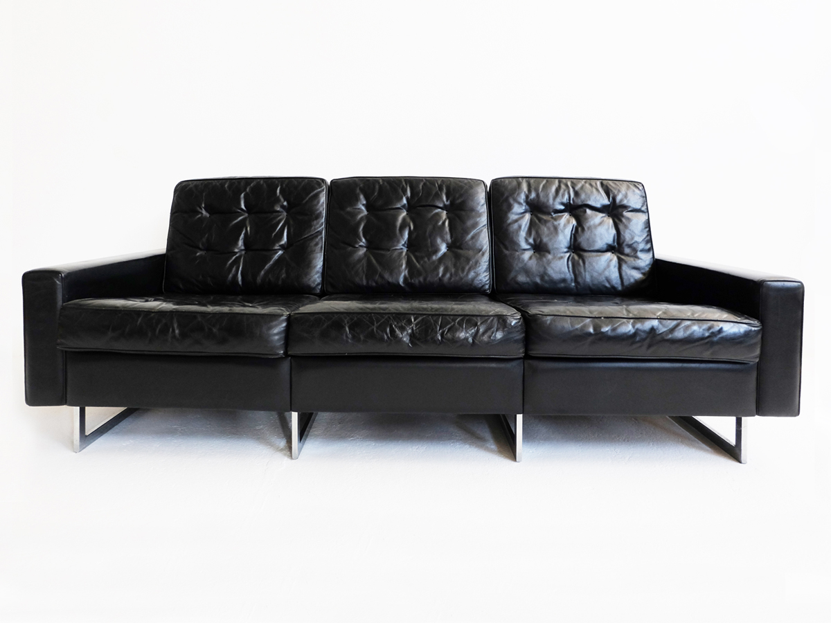 Patina black leather sofa