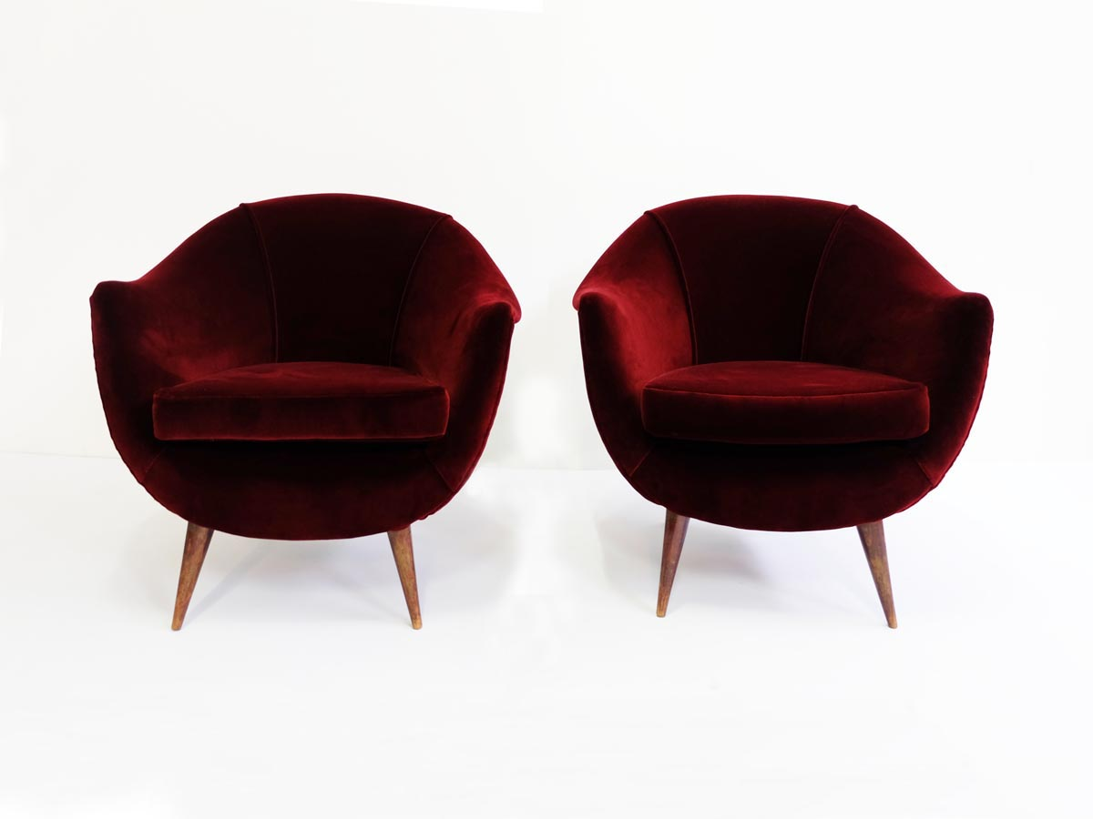 Deep red velvet Armchairs