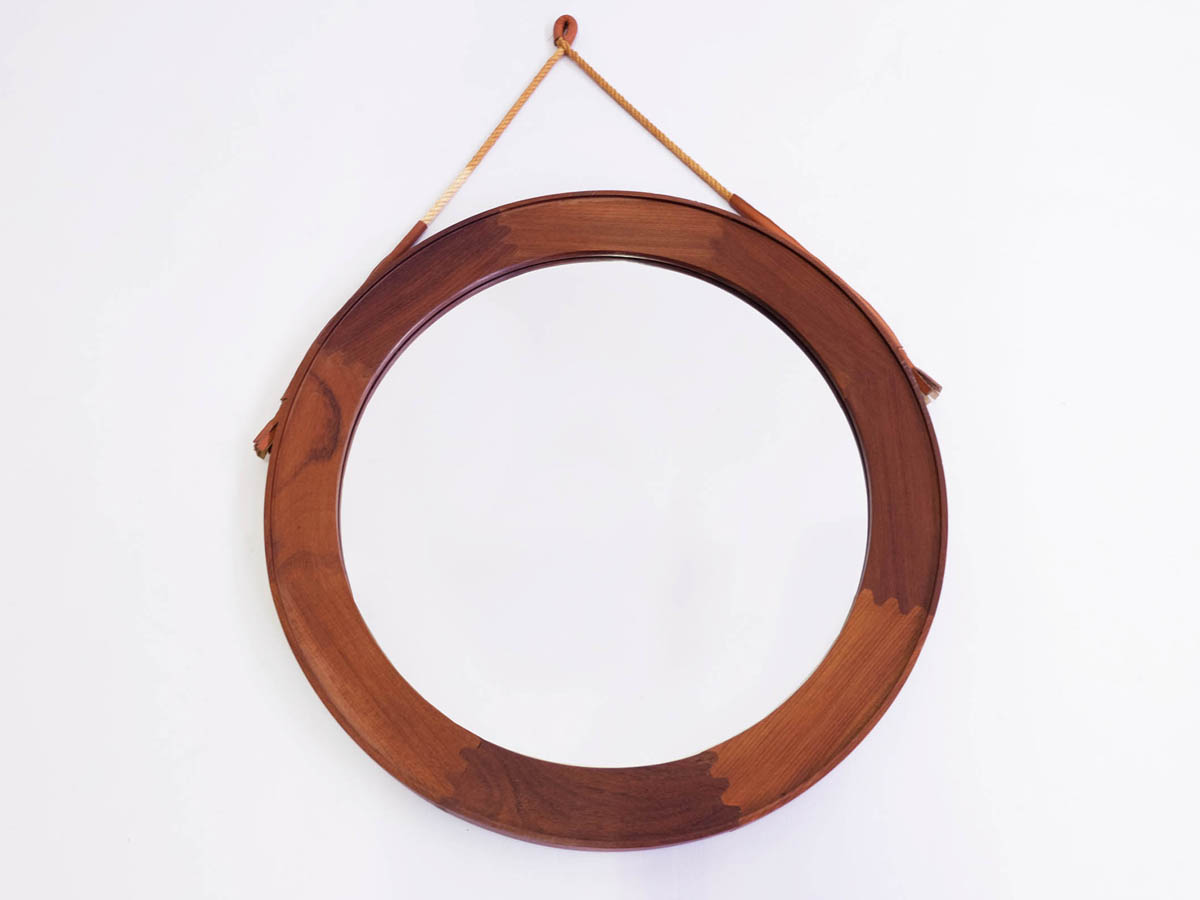 Wood round danish mirror