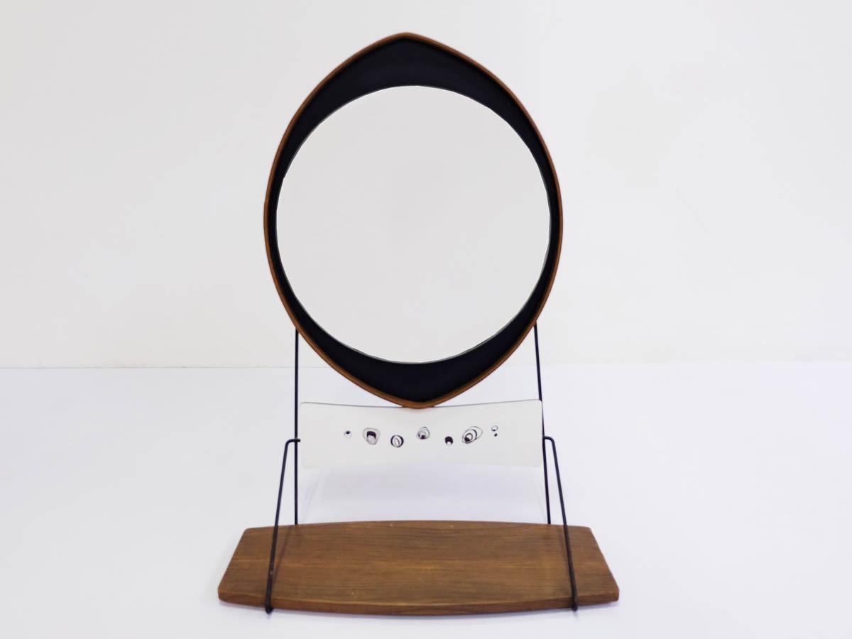 Miroir avec Étagère en Bois Suspendue