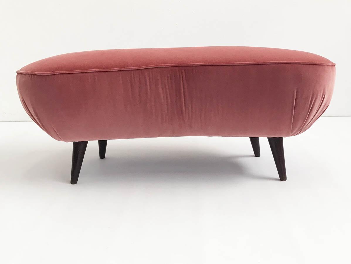 Rose velvet 1950 bench