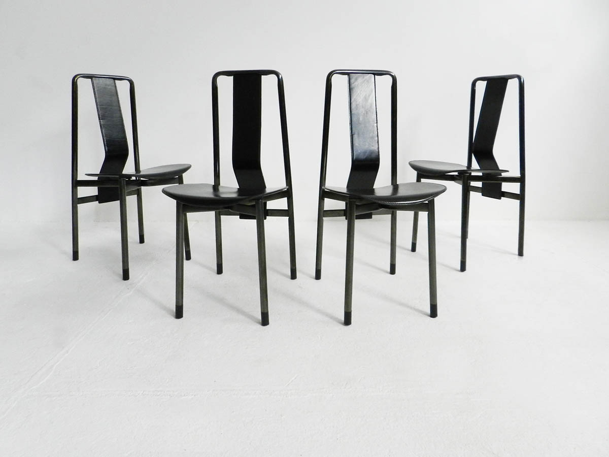 4 Leather chairs mod. Irma