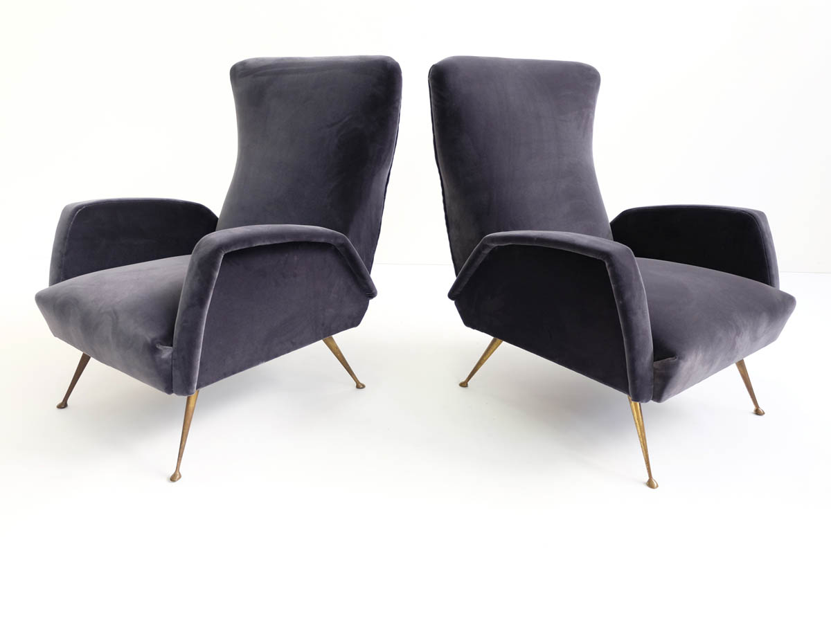 Pair of deep grey velvet armchairs