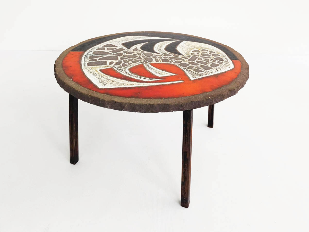 French brutalist glazed coffetable
