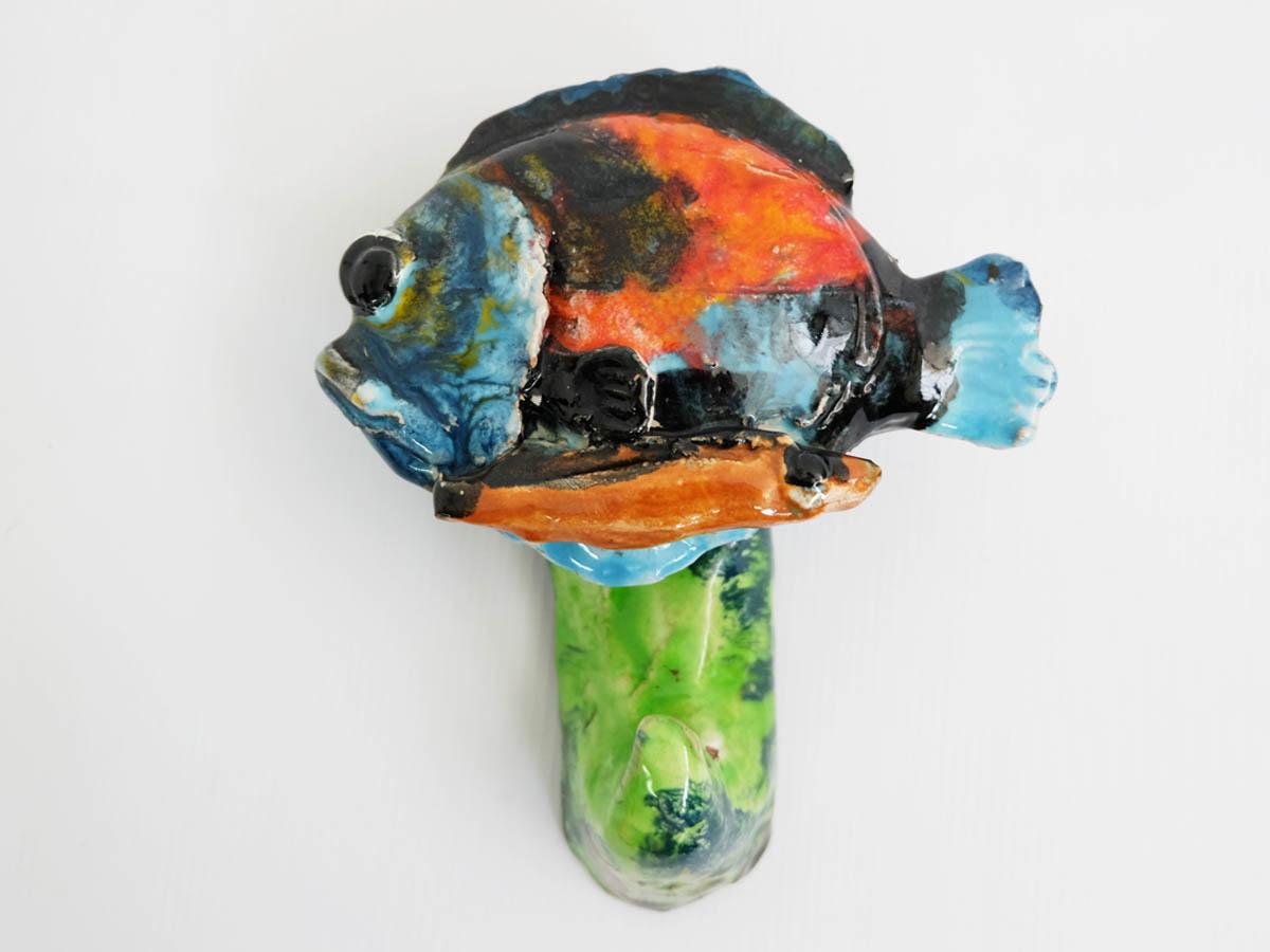 Fish coat rack in glazed ceramic
