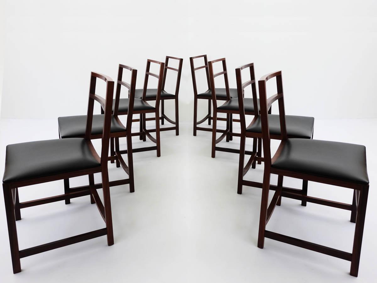 8 Minimal Architectural Mahogany Chairs