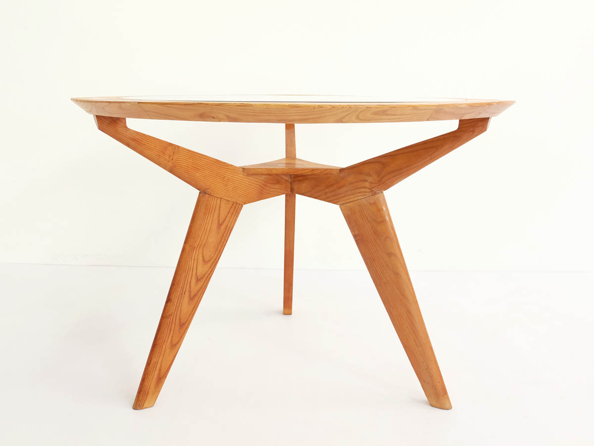 Architectural round maple and glass table