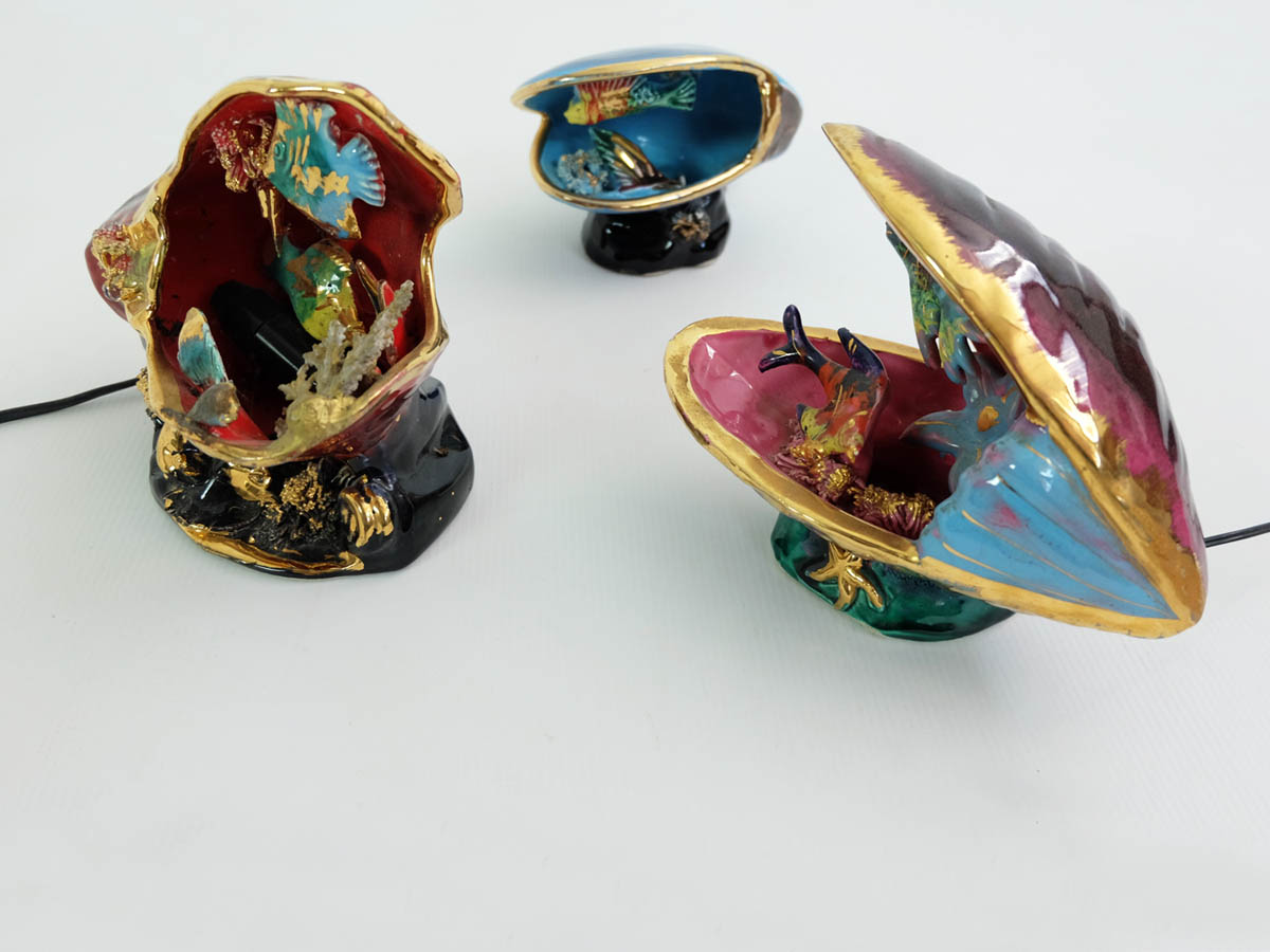 Set of 3 ceramic lights