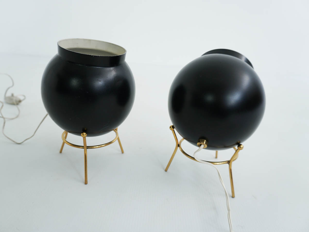 Pair of black bomb table lamps
