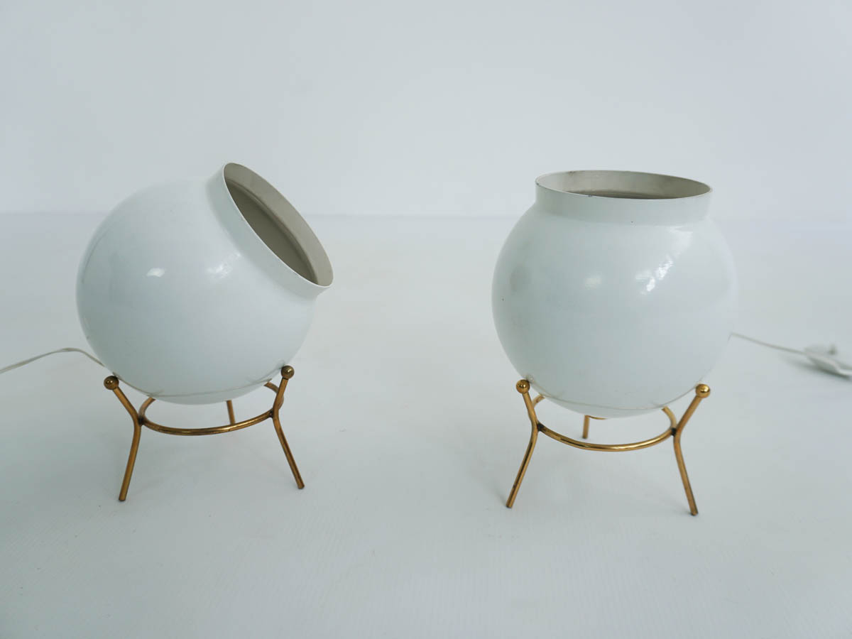 Pair of white bomb table lamps