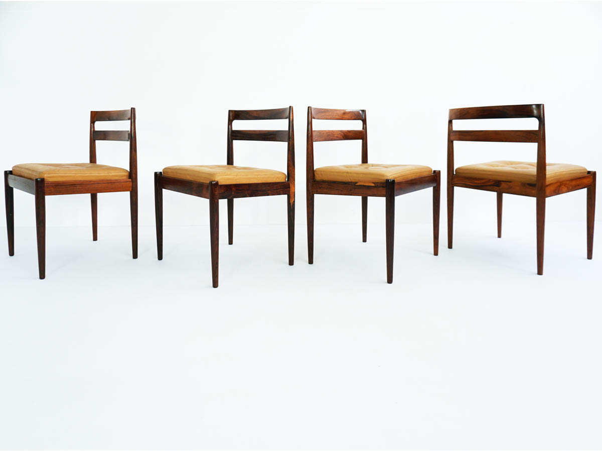 4 Rosewood And Leather Danish Chairs