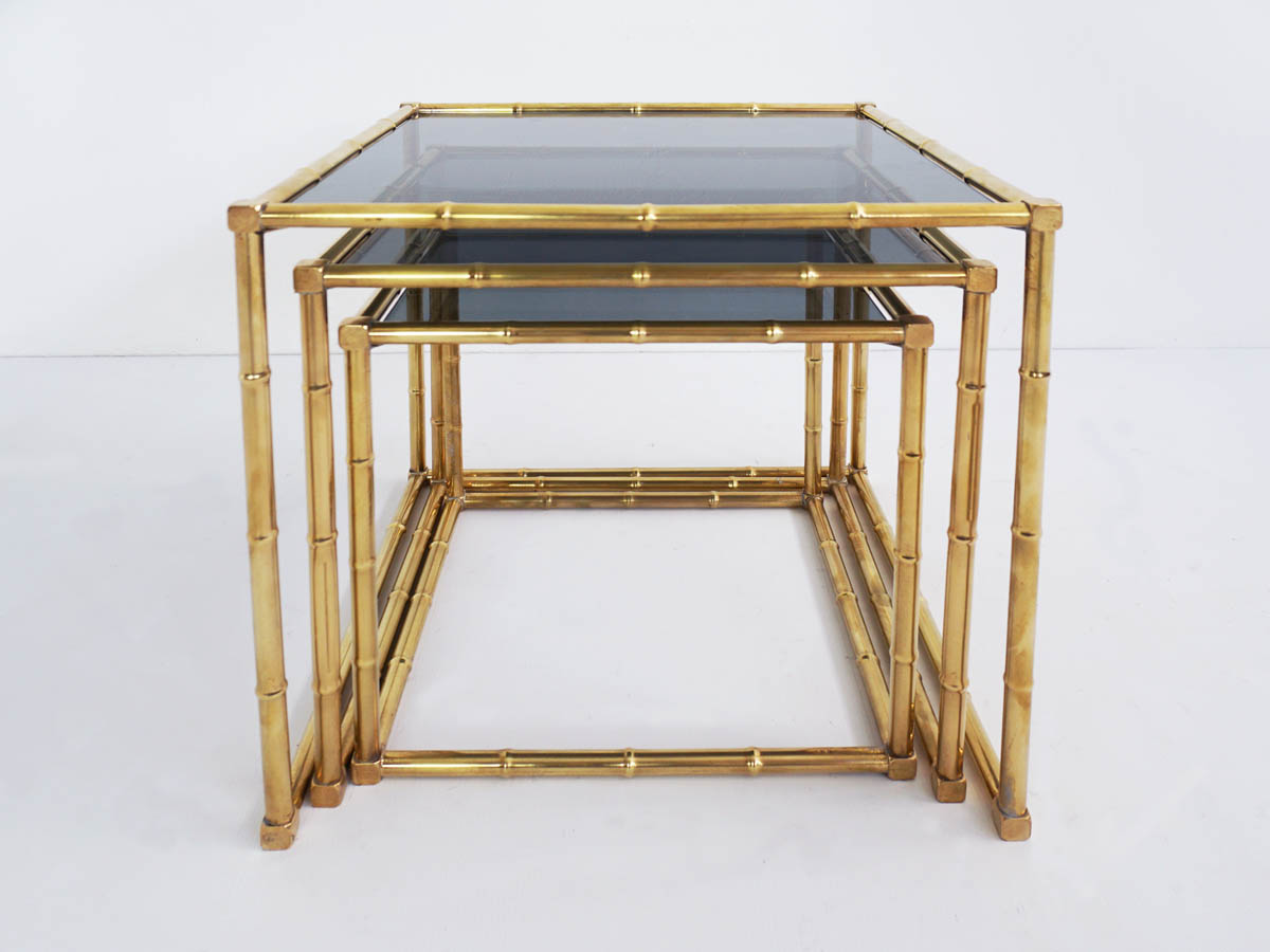 Set of 3 Nesting Table in Casting Brass Bamboo