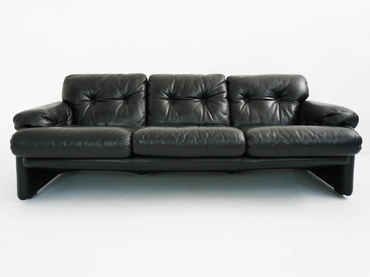 Black leather sofa mod. Coronado