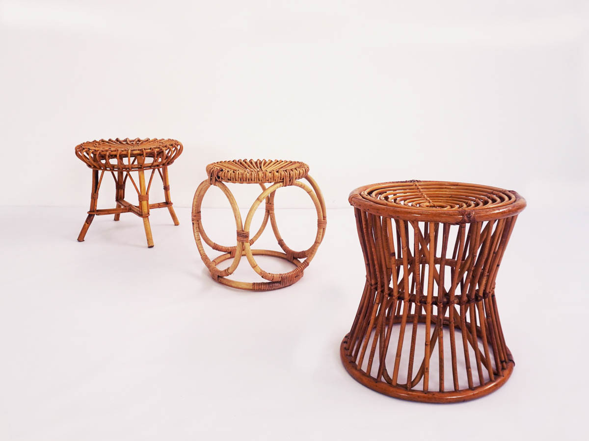 Set of 3 rattan stools