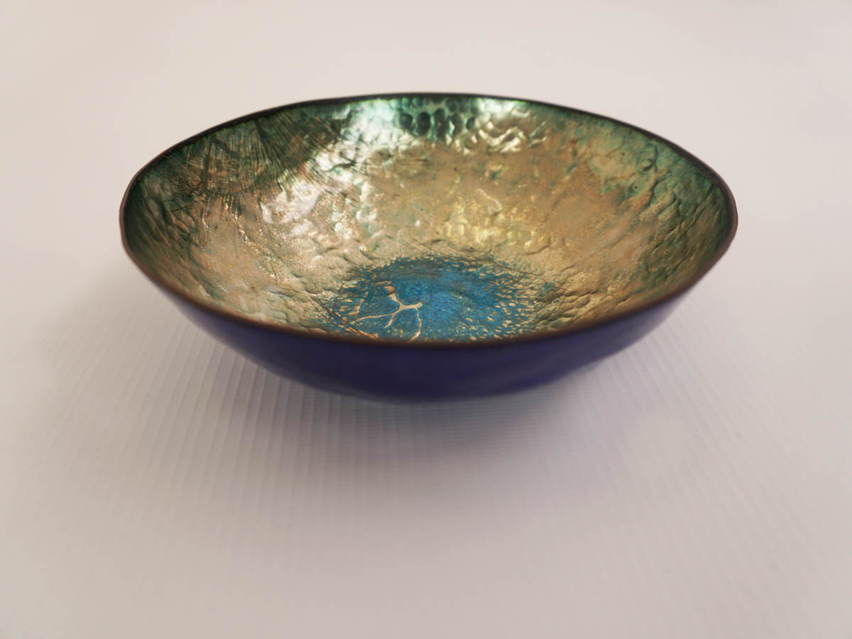 Turquoise and blu enameled copper bowl