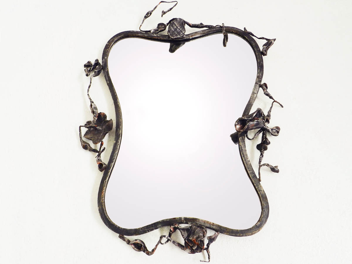 1960 Wrought Iron Sculptural Mirror