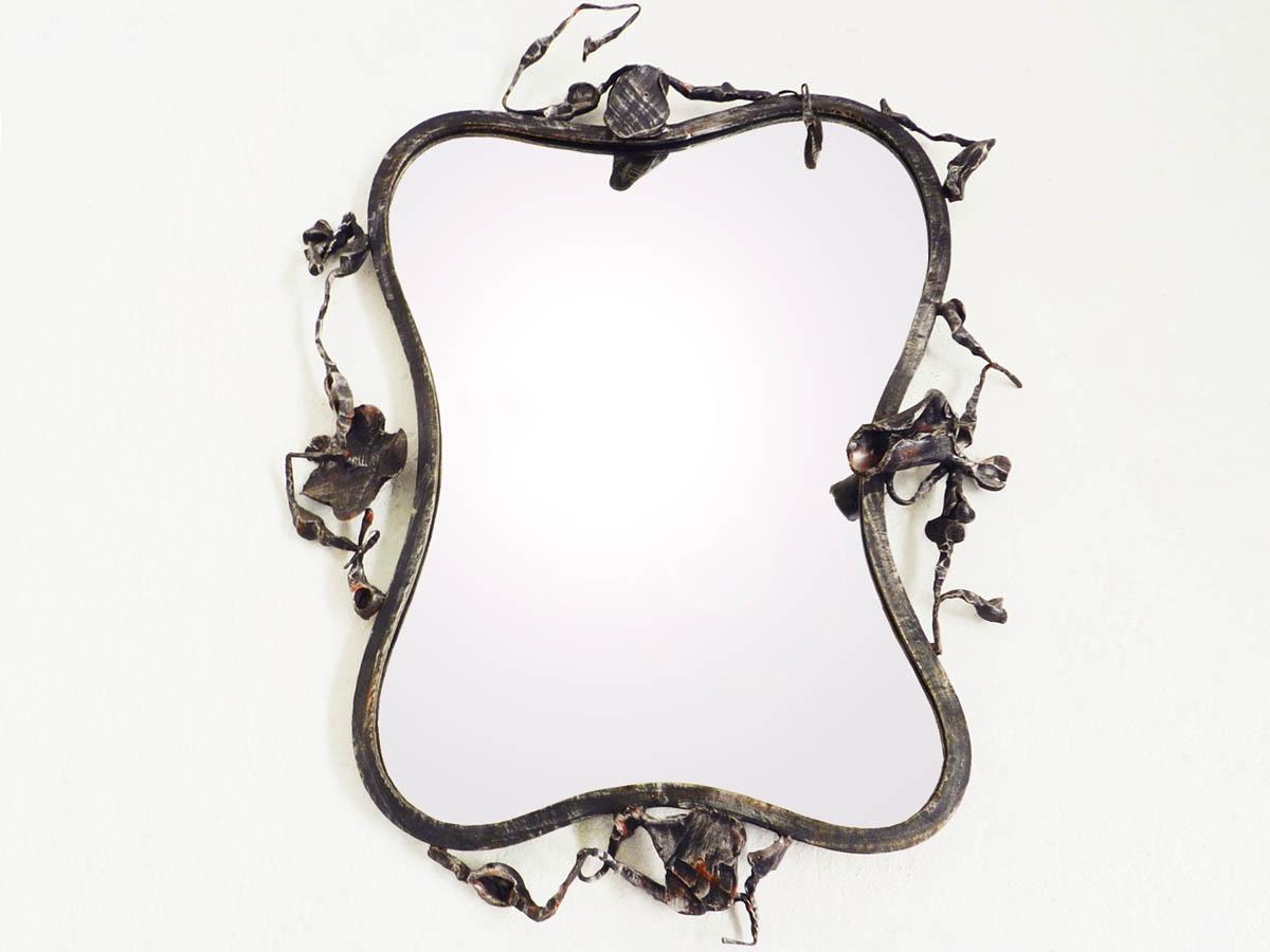 1960 Specchio Scultore in Ferro Battuto