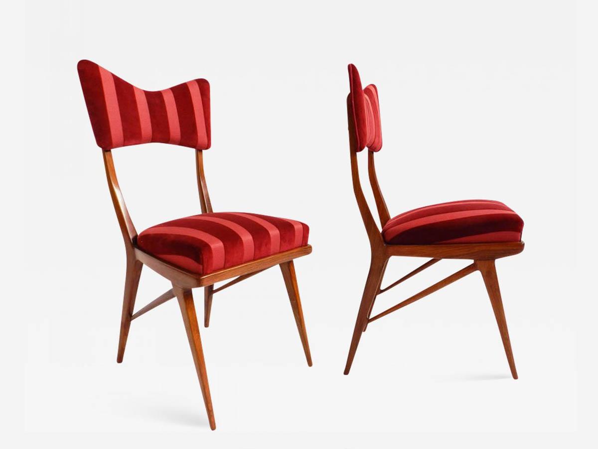 2 Red Love Stripe Velvet Chairs