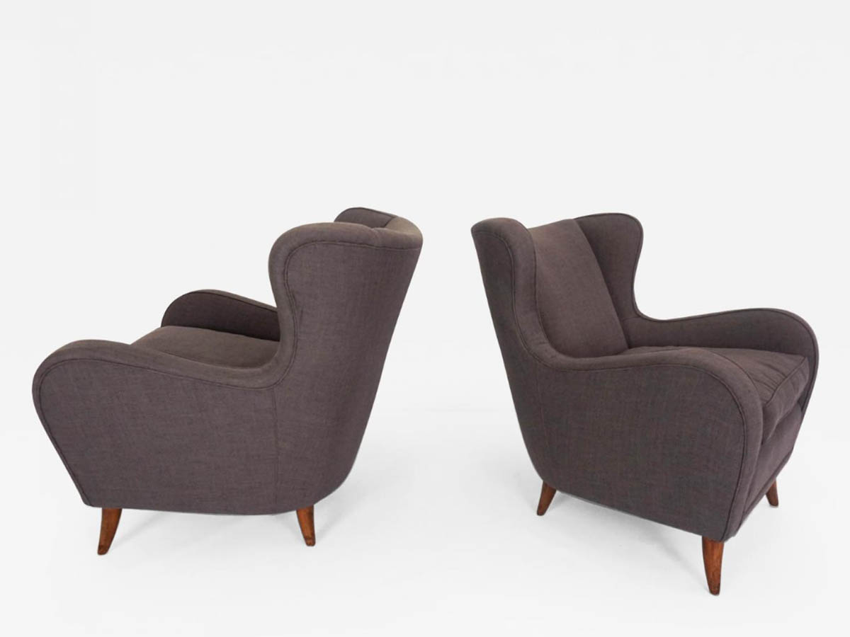 Pair of Armchairs in Warm Grey Cotton