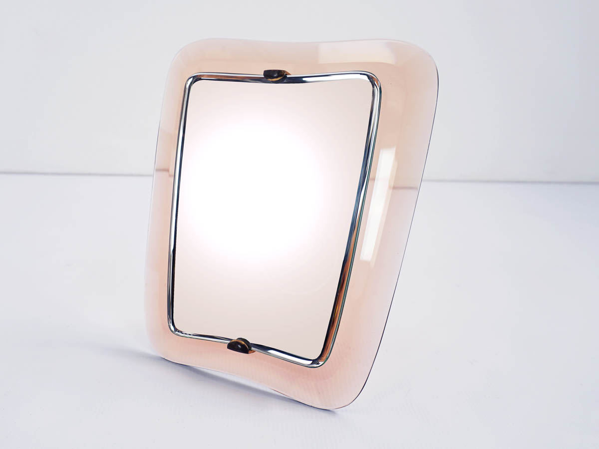 Pale Pink Glass Table Mirror