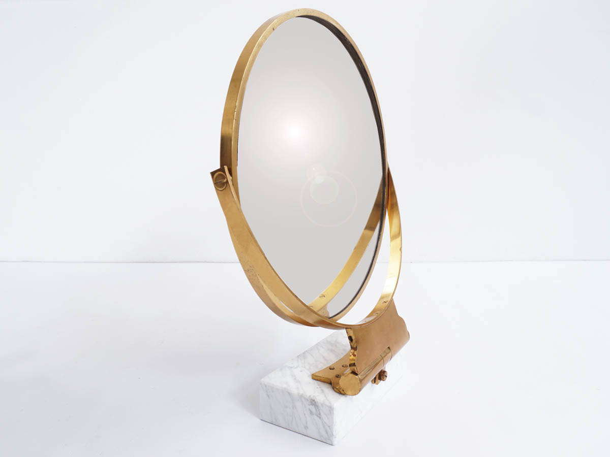 Elegant Massive Brass and Marble Vanity Table Mirror