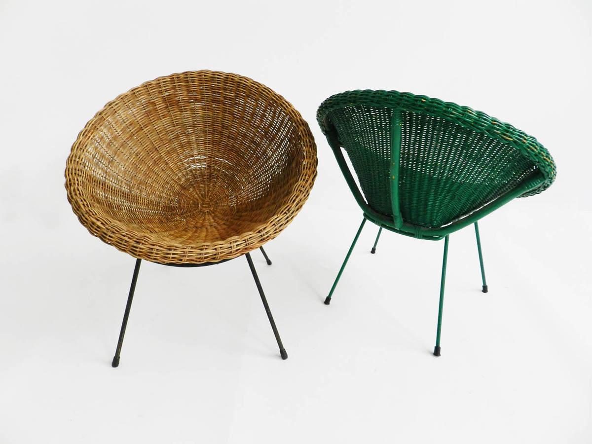 Pair of rattan nesting chairs