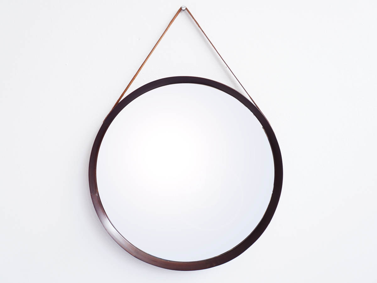 Oak and Leather Large Round Mirror by Luxus