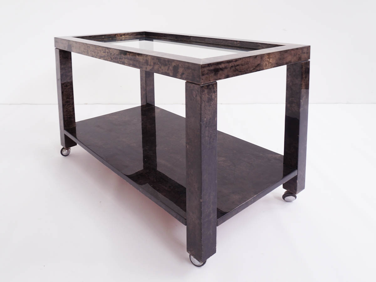 Parchment and mirror Serving Table