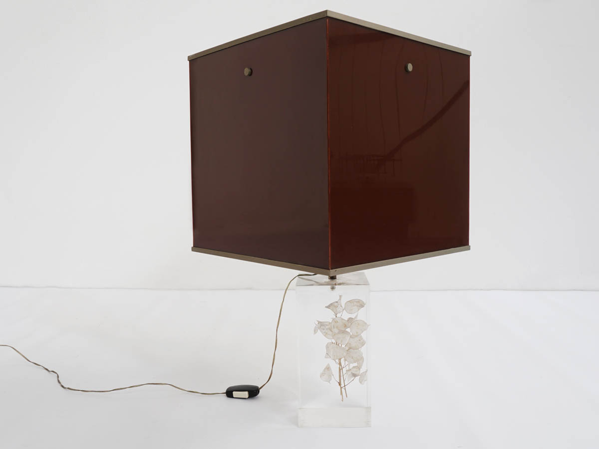 Plexi Table Lamp with trapped Flowers