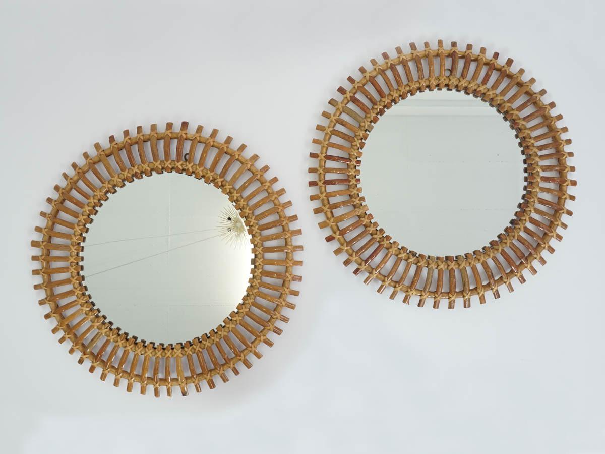 Pair of wall bamboo mirrors