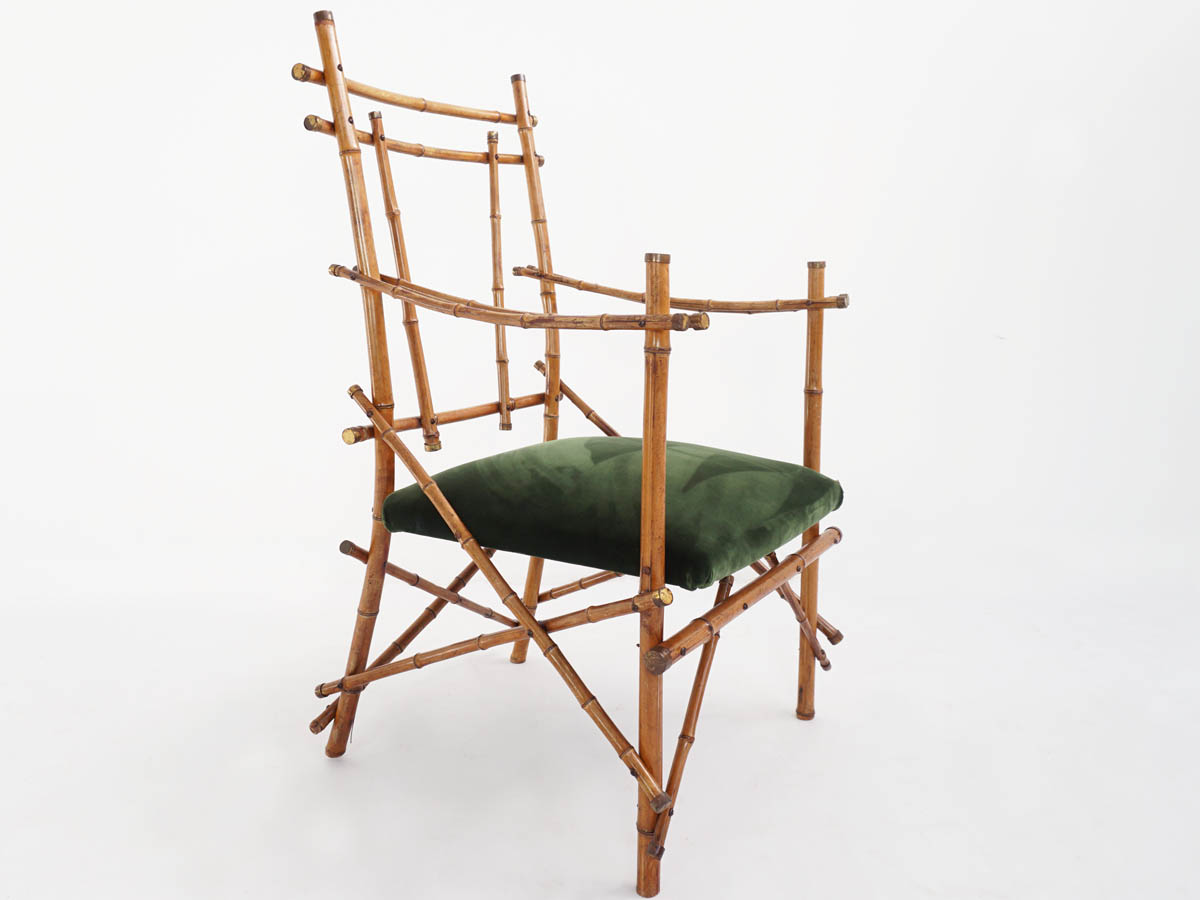 Sculptural Bamboo and Brass Armchair