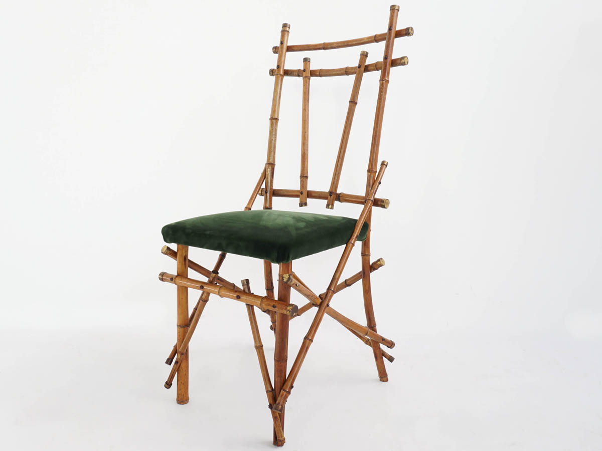 6 Sculptural Bamboo and Brass Chairs