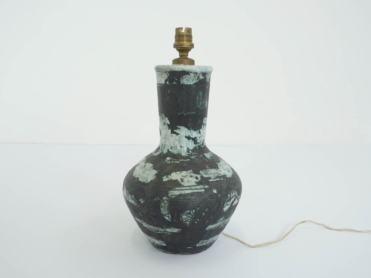 Französische Künstler-Keramik-Tischlampe