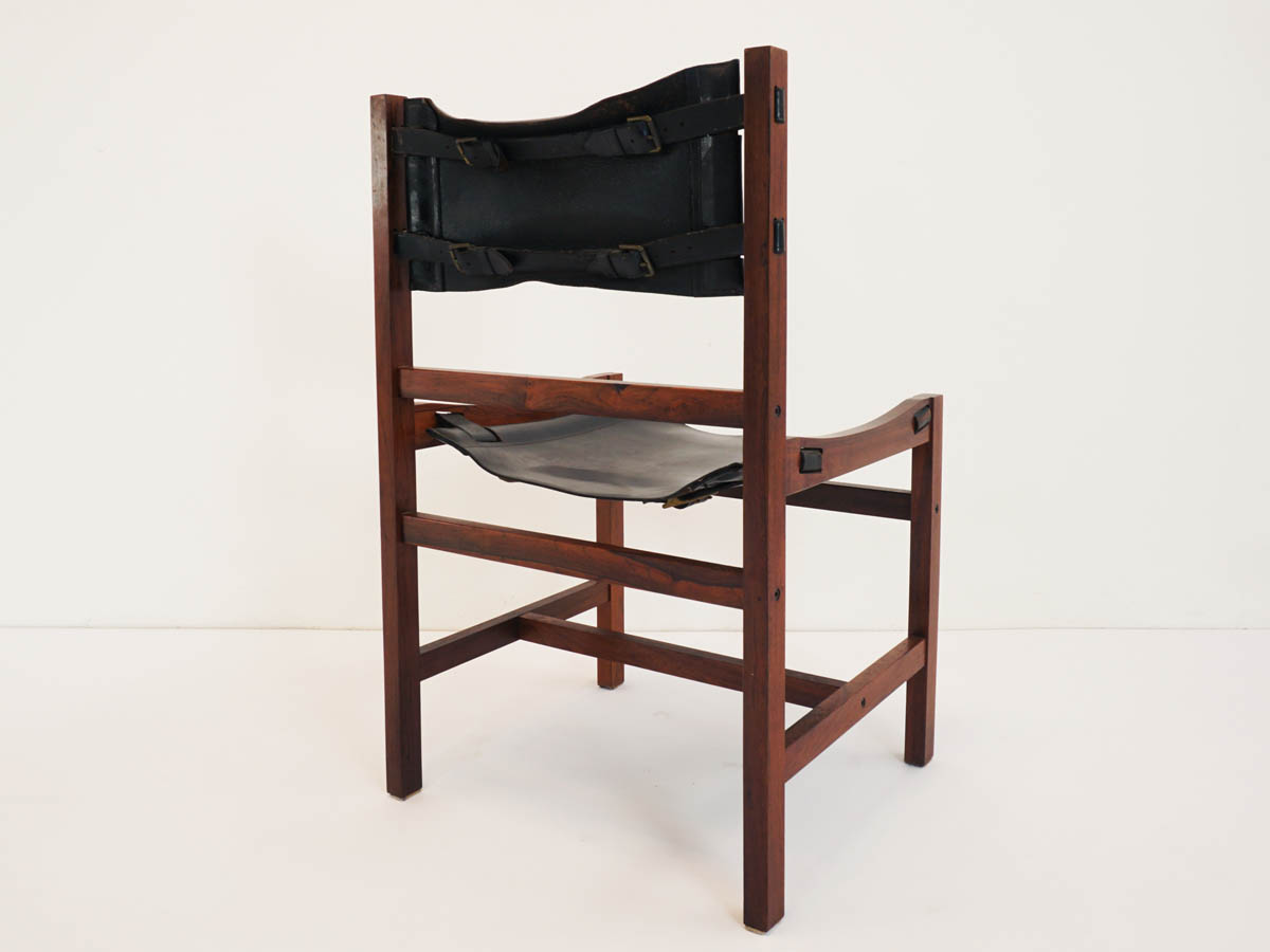 4 Patina Black Leather and Rosewood Brazilian Chairs