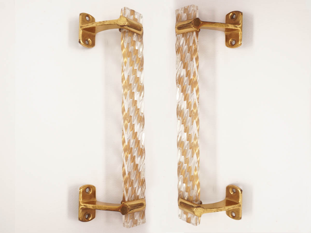 Pair of Brass and Gold Plastic Door Handles